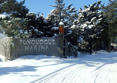Ponquoge Marina and Boat Yard entrance in winter