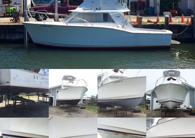 Hatteras 28 bottom restoration with Interprotect